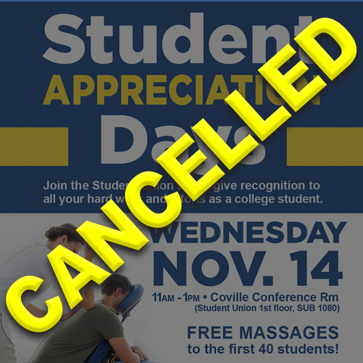The Student Union will be offering free massages to the first 40 students that come to the Coville Conference Room (located on the 1st floor of the Student Union – SUB 1080) on Wednesday, Nov. 14 from 11:00am - 1:00pm.
